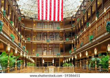 Interior view of Cleveland Ohio's elegant old Arcade, one of the city's oldest landmarks