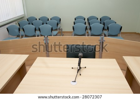 interior view of court room office conference table