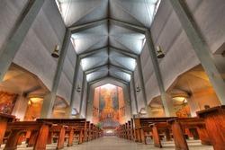 Interior view of Cristo Re church in Alba, Italy.