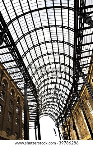 Interior view of Hay\'s Galleria glass roof
