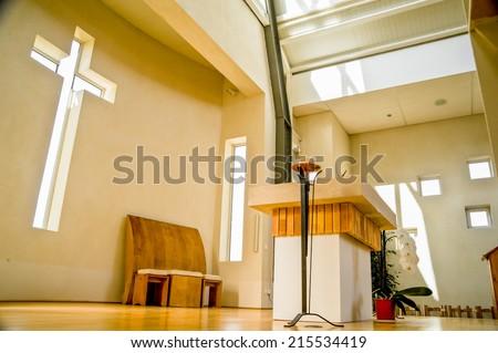 interior view of modern church...