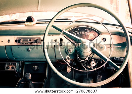 Interior view of old vintage car