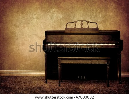 Interior view of piano and bench in a home