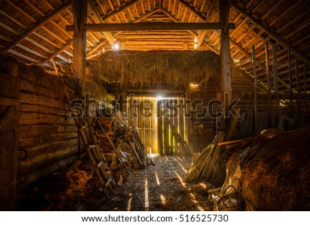 interior view of the old rural...