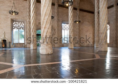 Interior view of the Old Silk Exchange (Lonja de la Seda), Valencia, Spain. UNESCO World Heritage Site.