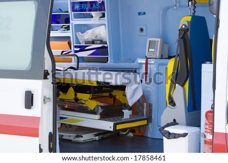 Interior view of the patient compartment of an ambulance.