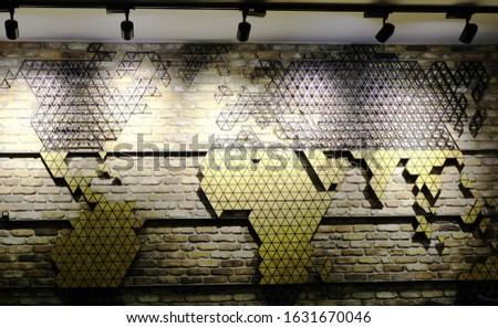 Interior Wall Design Triangles Pattern World Map  Stok fotoğraf ©