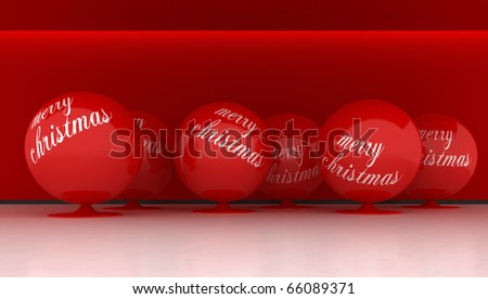 Interior whit big red ball for Christmas