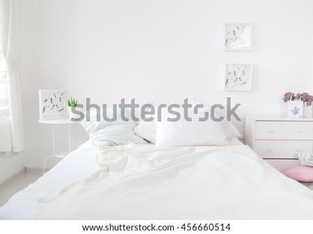 Interior white bedroom #456660514