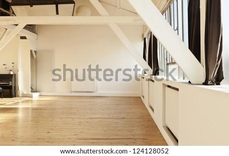 interior wide loft beams and wooden floor