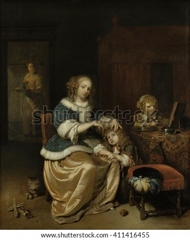Interior with a Mother Combing her Child's Hair, by Caspar Netscher, 1669, Dutch oil painting. Painting is also knows as 'Maternal Care'. A second child is at right and a servant stands in a backgrou