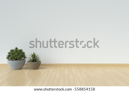 Interior with armchairs and ornamental plants on empty wall background,3D rendering