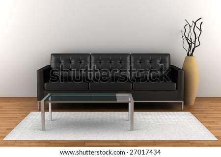 interior with black leather sofa and glass table
