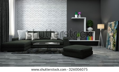 interior with brown sofa. 3d illustration