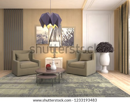 interior with chair. 3d illustration #1233193483