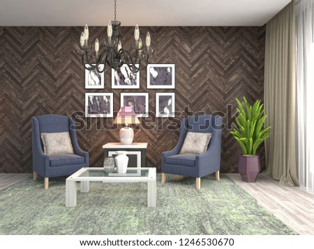 interior with chair. 3d illustration #1246530670