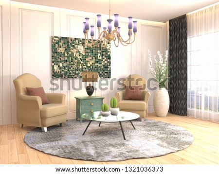 interior with chair. 3d illustration #1321036373