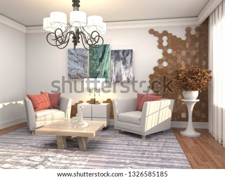 interior with chair. 3d illustration #1326585185