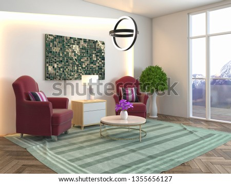 interior with chair. 3d illustration #1355656127