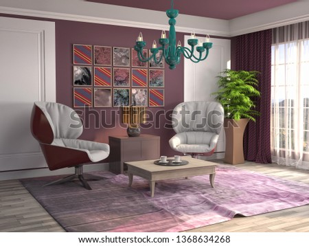 interior with chair. 3d illustration #1368634268