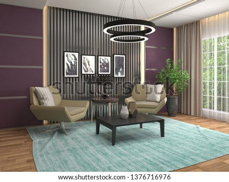 interior with chair. 3d illustration #1376716976