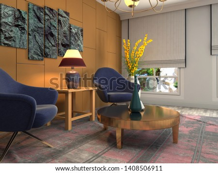 interior with chair. 3d illustration. #1408506911