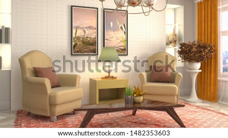 interior with chair. 3d illustration. #1482353603