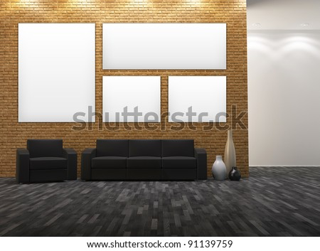 Interior with empty frames on brick wall.