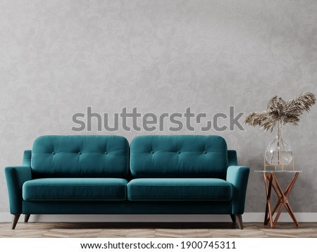 Interior with empty wall. Background for painting or poster. Foto stock ©