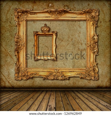 Golden Frame Wallpaper Interior With Golden Frame on