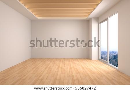 interior with large window. 3d illustration.