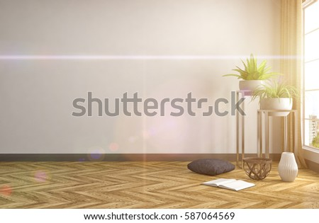 interior with large window. 3d illustration #587064569