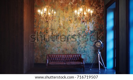 interior with leather sofa and...