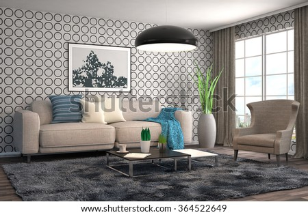 interior with sofa. 3d illustration #364522649
