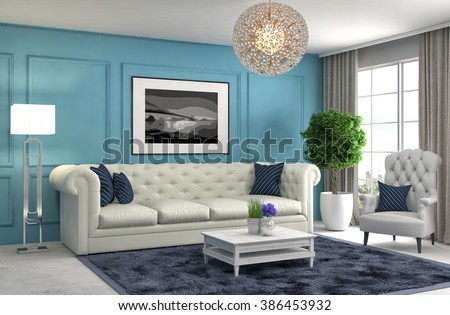 interior with sofa. 3d illustration #386453932