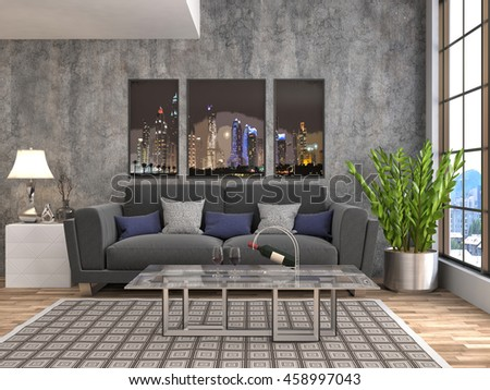 interior with sofa. 3d illustration #458997043
