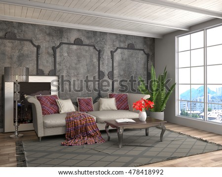 interior with sofa. 3d illustration #478418992
