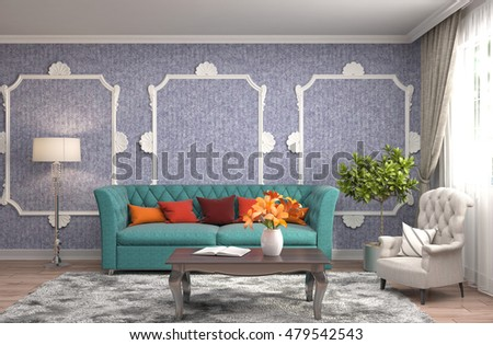 interior with sofa. 3d illustration #479542543