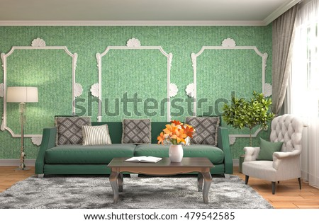 interior with sofa. 3d illustration #479542585