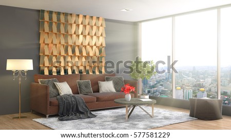 interior with sofa. 3d illustration #577581229