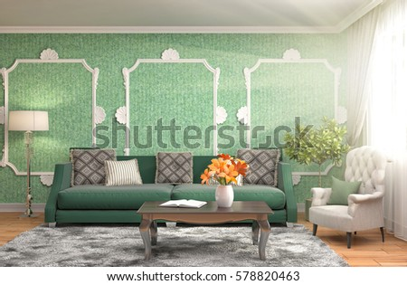 interior with sofa. 3d illustration #578820463