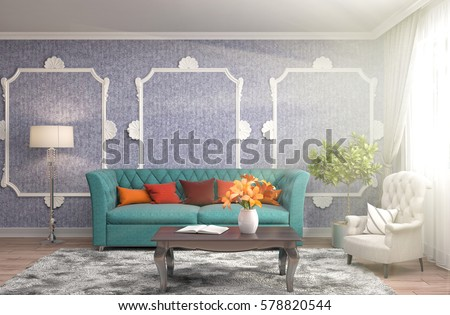 interior with sofa. 3d illustration #578820544
