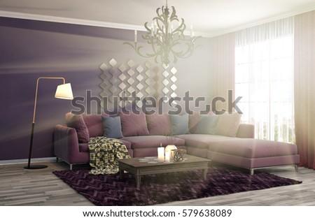 interior with sofa. 3d illustration #579638089