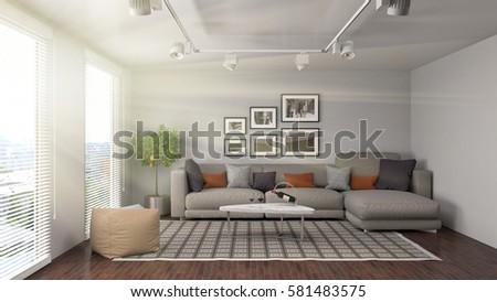 interior with sofa. 3d illustration #581483575