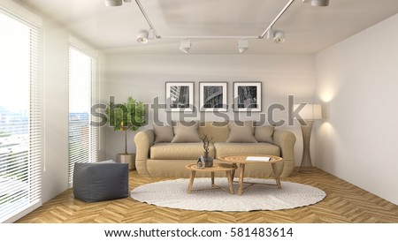interior with sofa. 3d illustration #581483614
