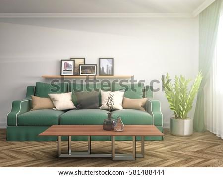 interior with sofa. 3d illustration #581488444