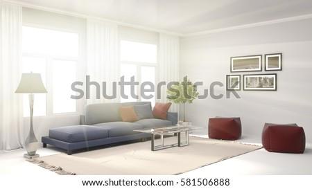 interior with sofa. 3d illustration #581506888