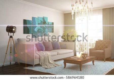 interior with sofa. 3d illustration #586964180
