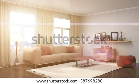 interior with sofa. 3d illustration #587698280