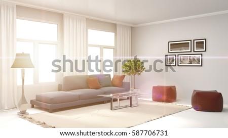 interior with sofa. 3d illustration #587706731